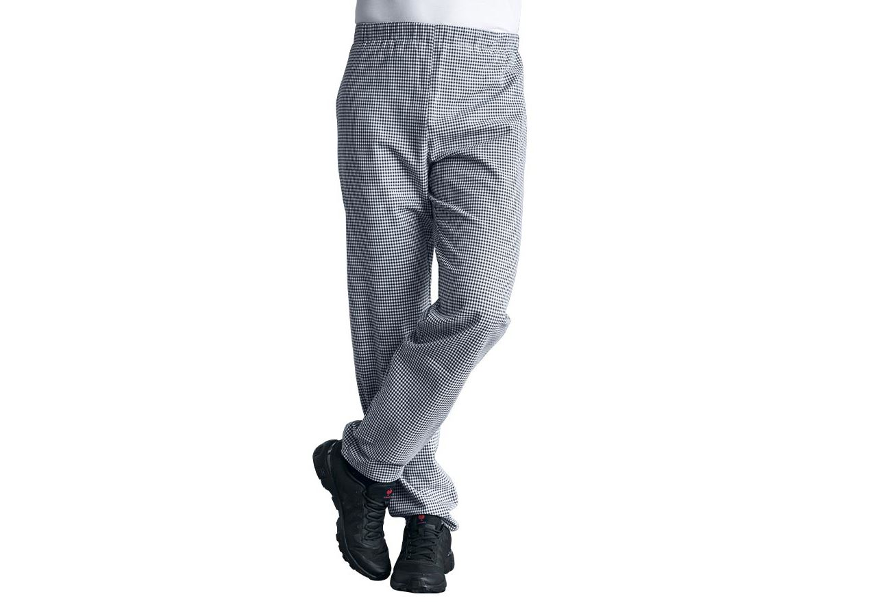 Work Trousers: Classic Unisex Chefs Trousers + black/white