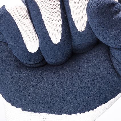 Coated: e.s. Latex foam gloves recycled, 3 pairs + blue/white 2