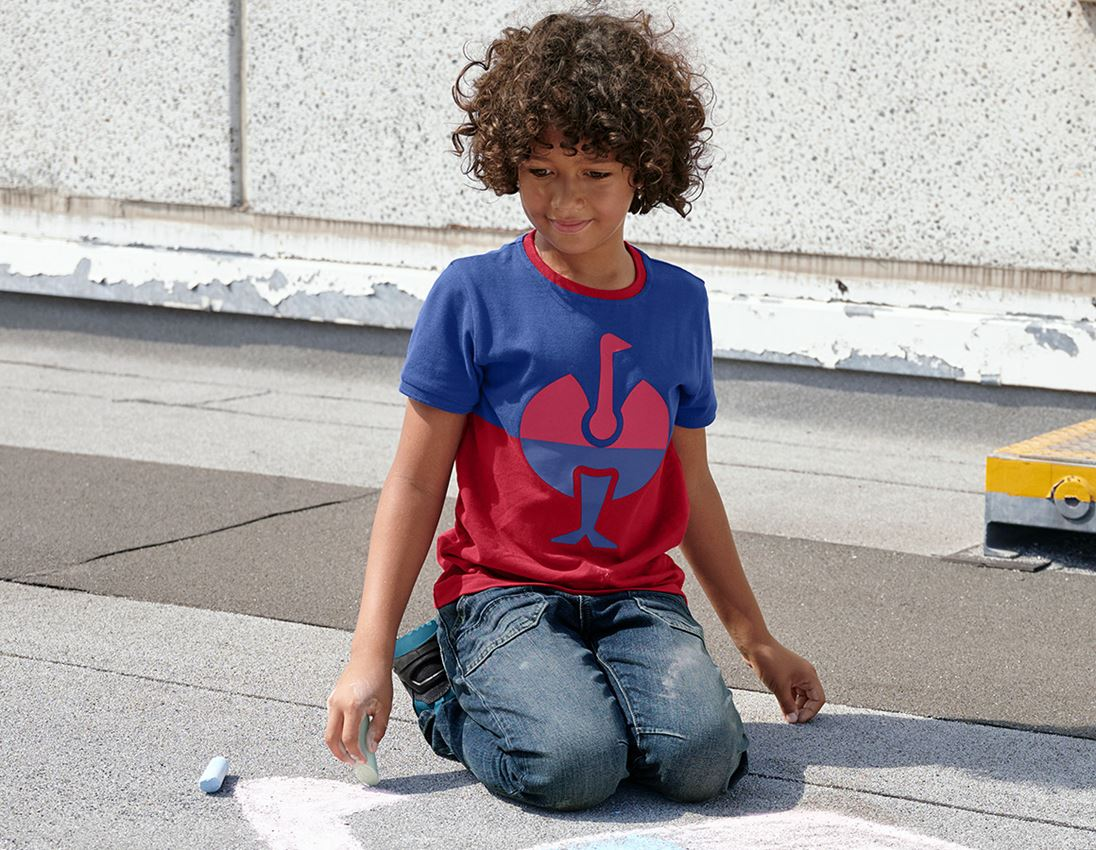 Överdelar: e.s. Pique-Shirt colourblock, barn + kornblå/eldröd