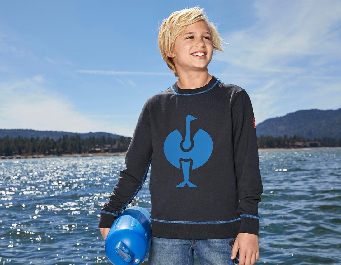 Överdelar: sweatshirt e.s.motion 2020, barn + grafit/gentianablå