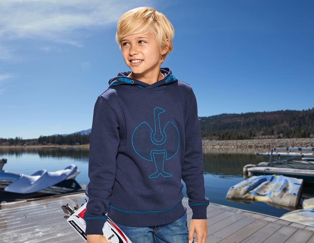 Överdelar: Hoody-Sweatshirt e.s.motion 2020, barn + mörkblå/atoll