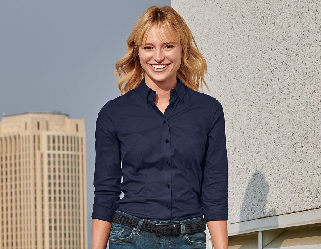 Shirts, Pullover & more: e.s. Business blouse cotton str. lad. regular fit + navy