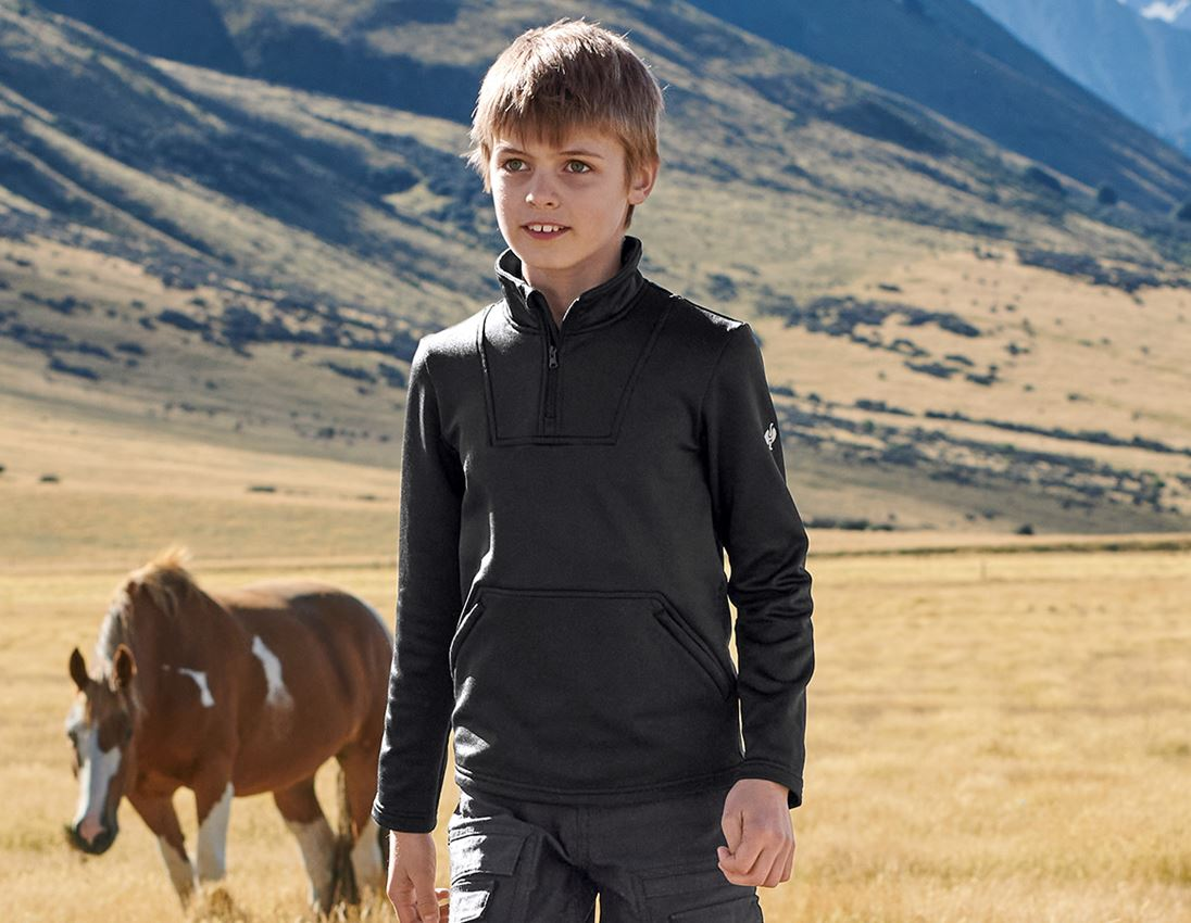 Shirts, Pullover & more: Funct.Troyer thermo stretch e.s.concrete child. + black