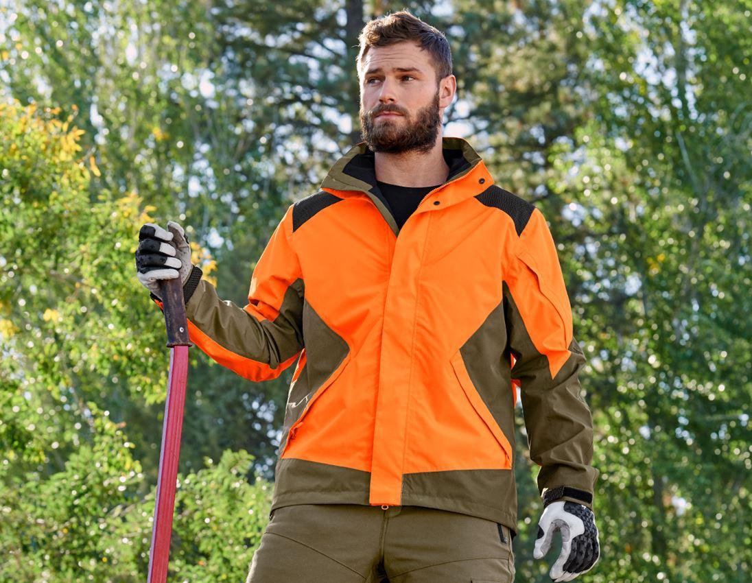 Work Jackets: e.s. Forestry rain jacket + high-vis orange/mudgreen