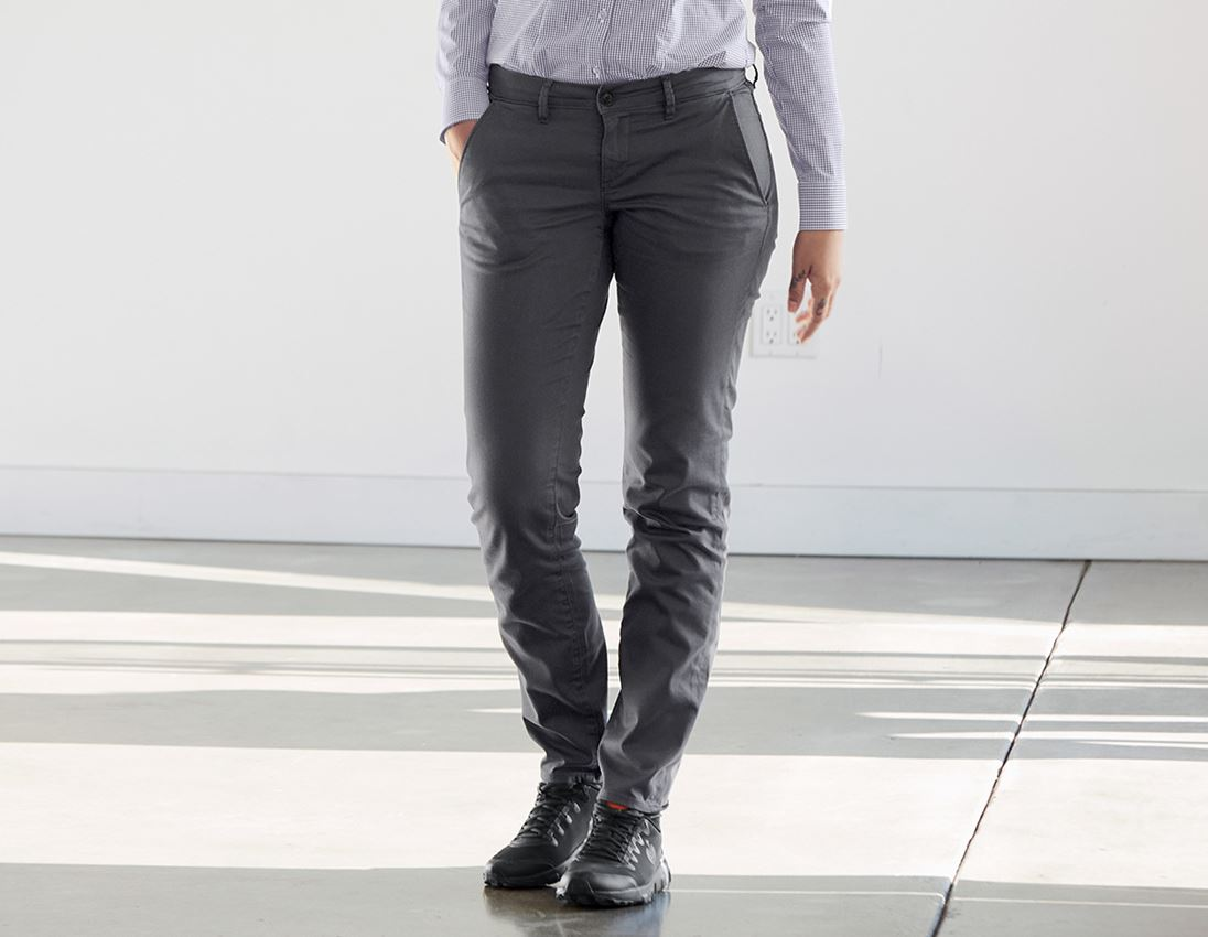 Work Trousers: e.s. 5-pocket work trousers Chino, ladies` + anthracite