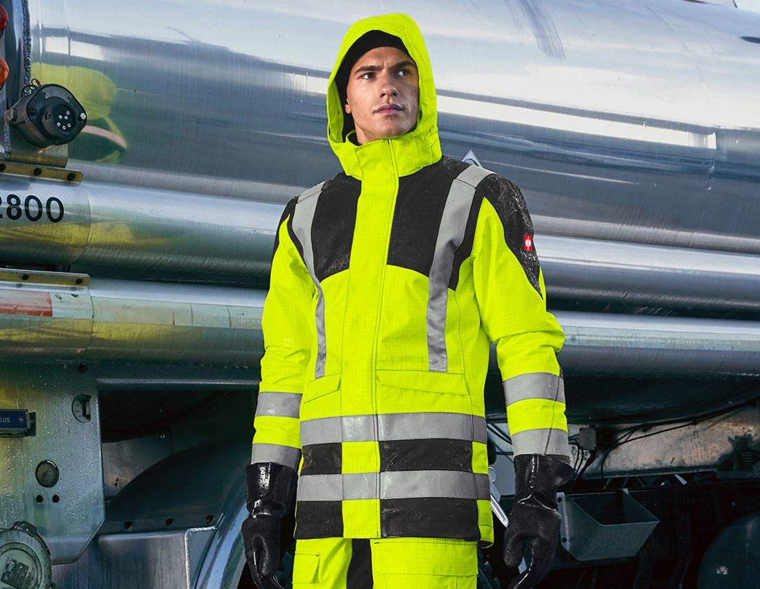 Arbetsjackor: e.s. Väderskyddsparka multinorm high-vis + varselgul/svart