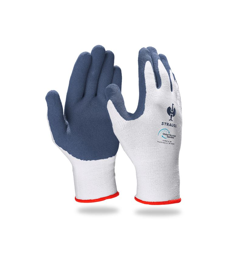 Coated: e.s. Latex foam gloves recycled, 3 pairs + blue/white