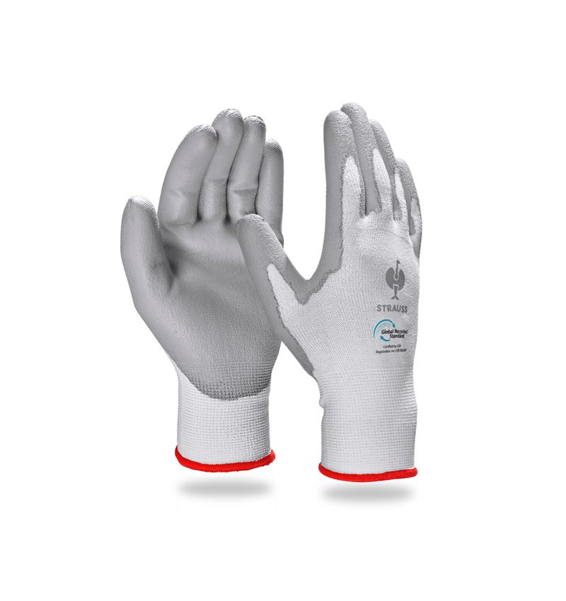 Coated: e.s. PU gloves recycled, 3 pairs + grey/white