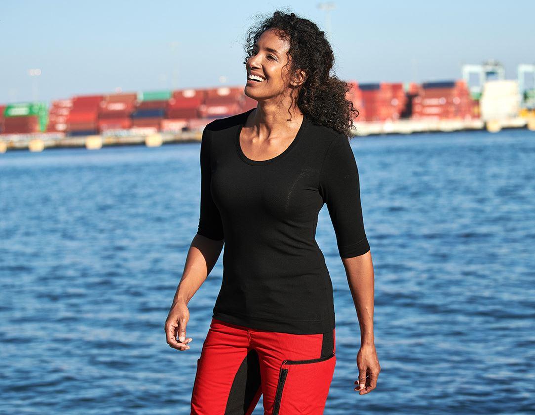 Överdelar: e.s. Shirt 3/4-ärm cotton stretch, dam + svart