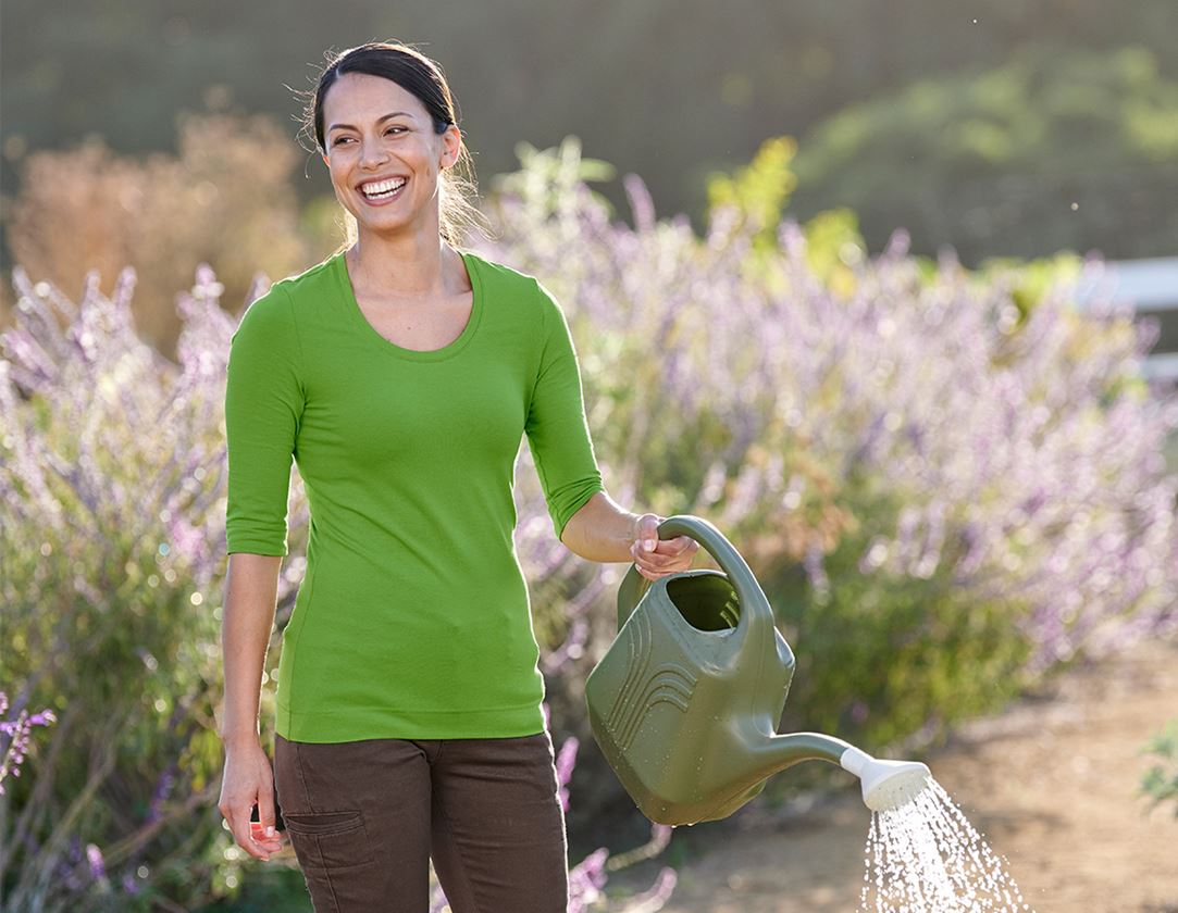Överdelar: e.s. Shirt 3/4-ärm cotton stretch, dam + sjögrön