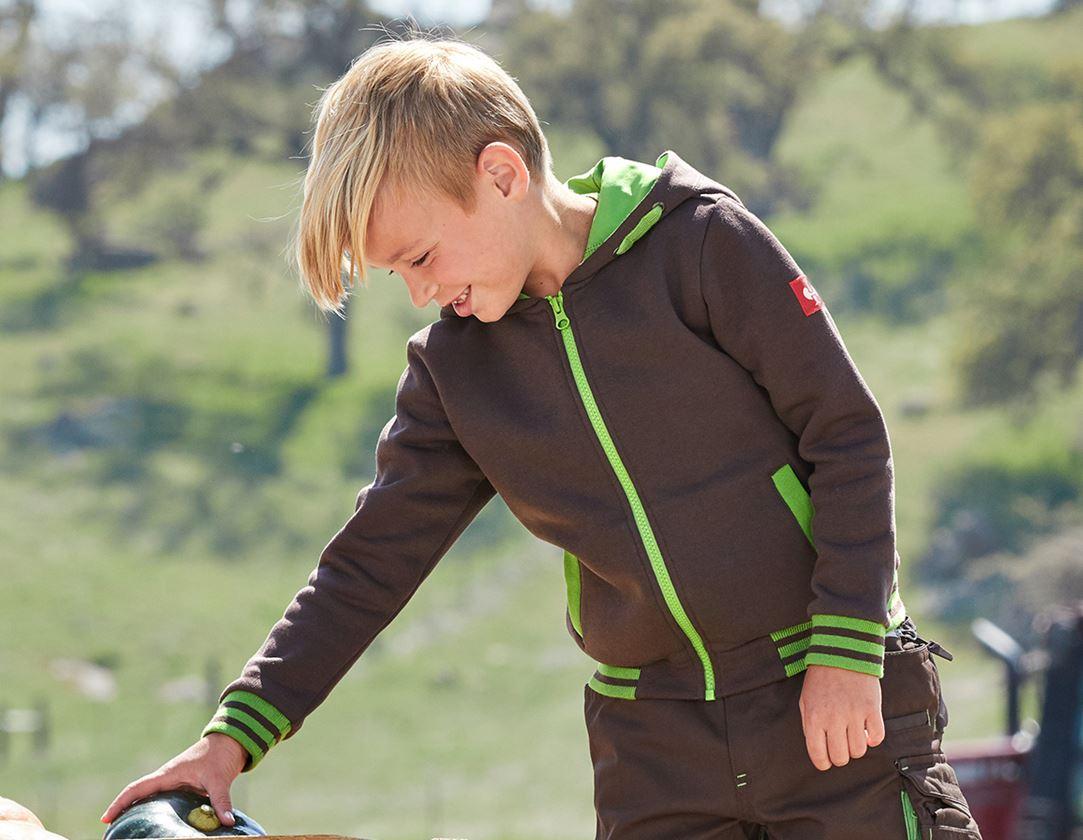 Överdelar: Hoody-Sweatjacka e.s.motion 2020, barn + kastanj/sjögrön