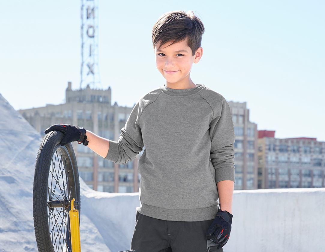 Överdelar: e.s. Sweatshirt cotton stretch, barn + gråmelerad