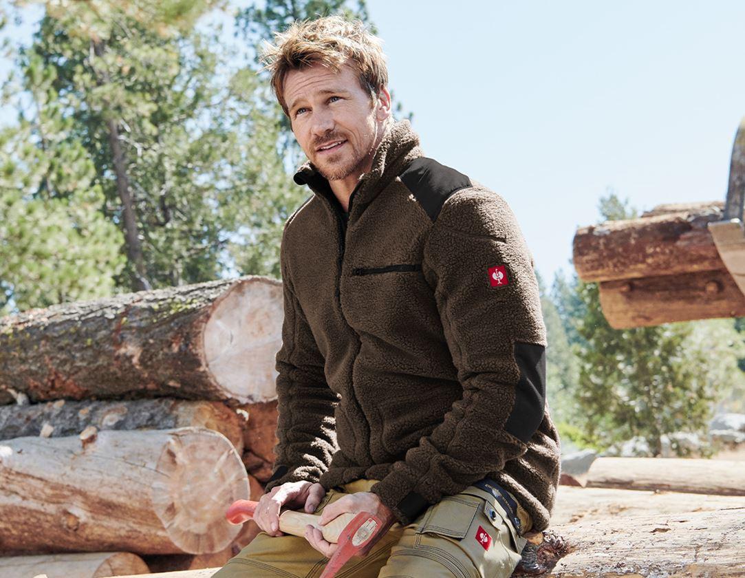 Work Jackets: Faux fur jacket e.s.roughtough  + bark