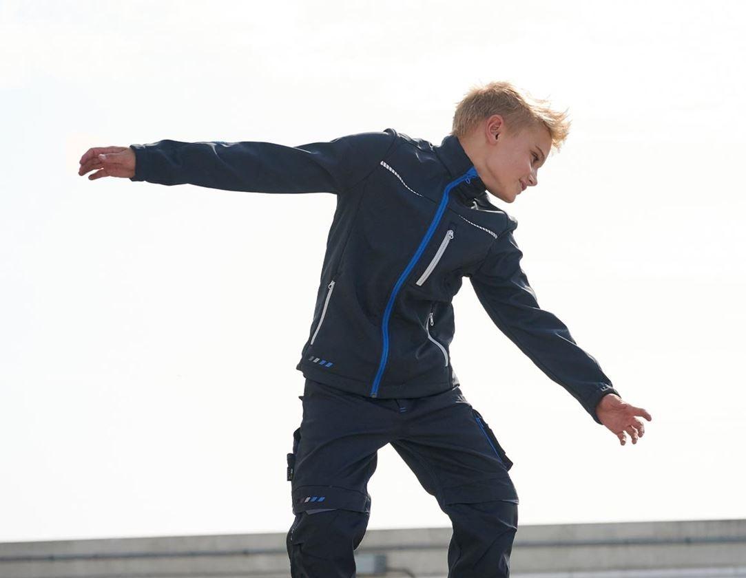 Jackor: Softshelljacka e.s.motion 2020, barn + grafit/gentianablå
