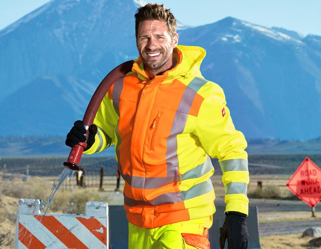Work Jackets: High-vis winter softshell jacket e.s.motion 2020 + high-vis orange/high-vis yellow