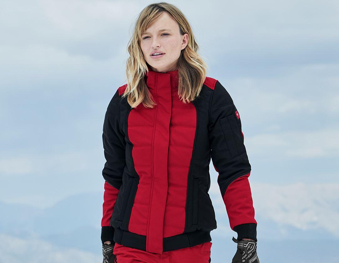 Arbetsjackor: Vinter softshelljacka e.s.vision, dam + röd/svart