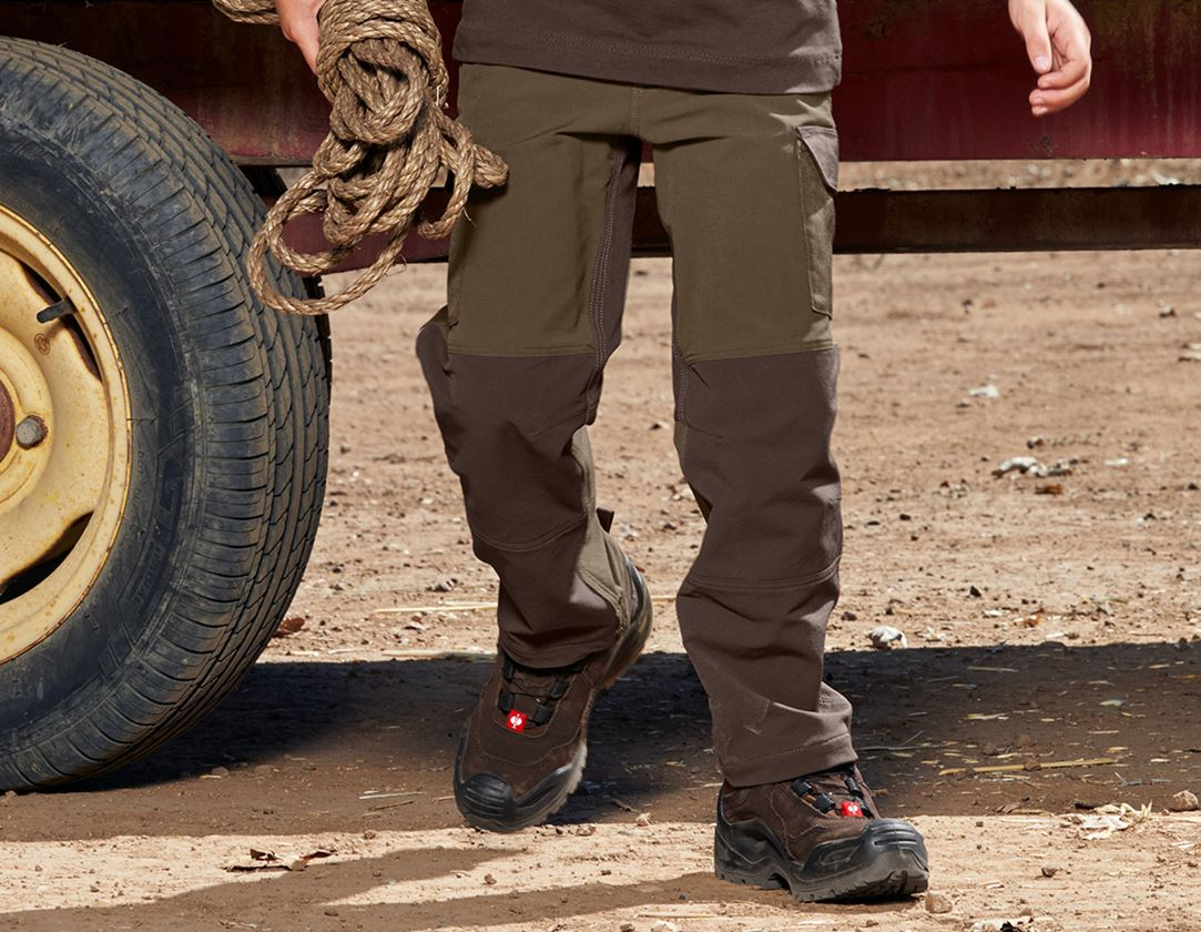 Trousers: Funct. cargo trousers e.s.dynashield, children's + hazelnut/chestnut