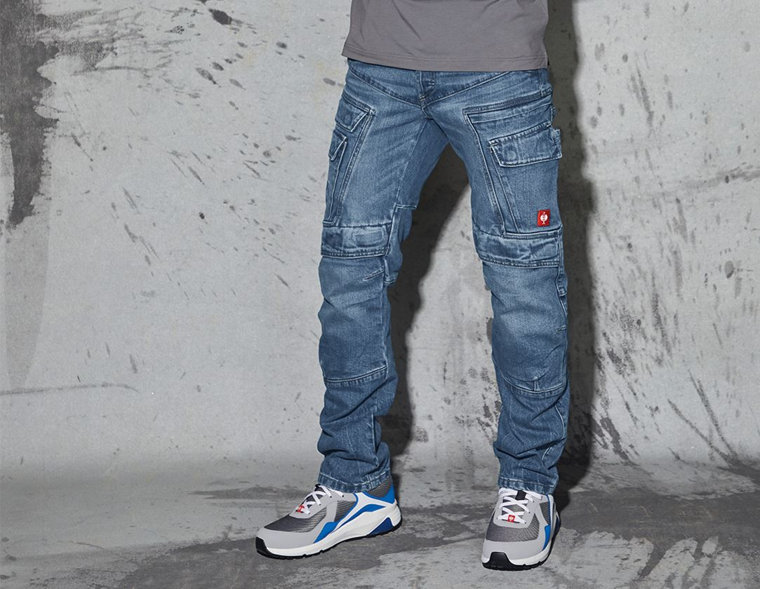 Arbetsbyxor: e.s. Cargo worker-jeans POWERdenim + stonewashed