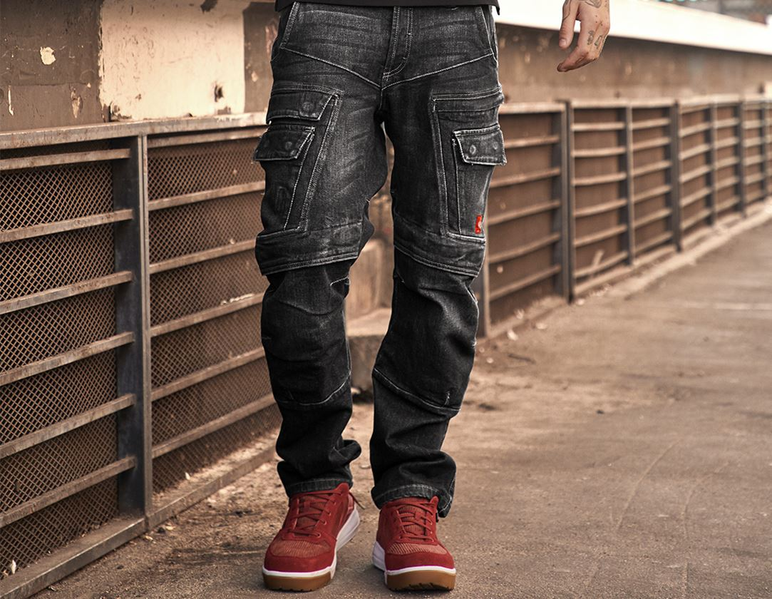 Arbetsbyxor: e.s. Cargo worker-jeans POWERdenim + blackwashed