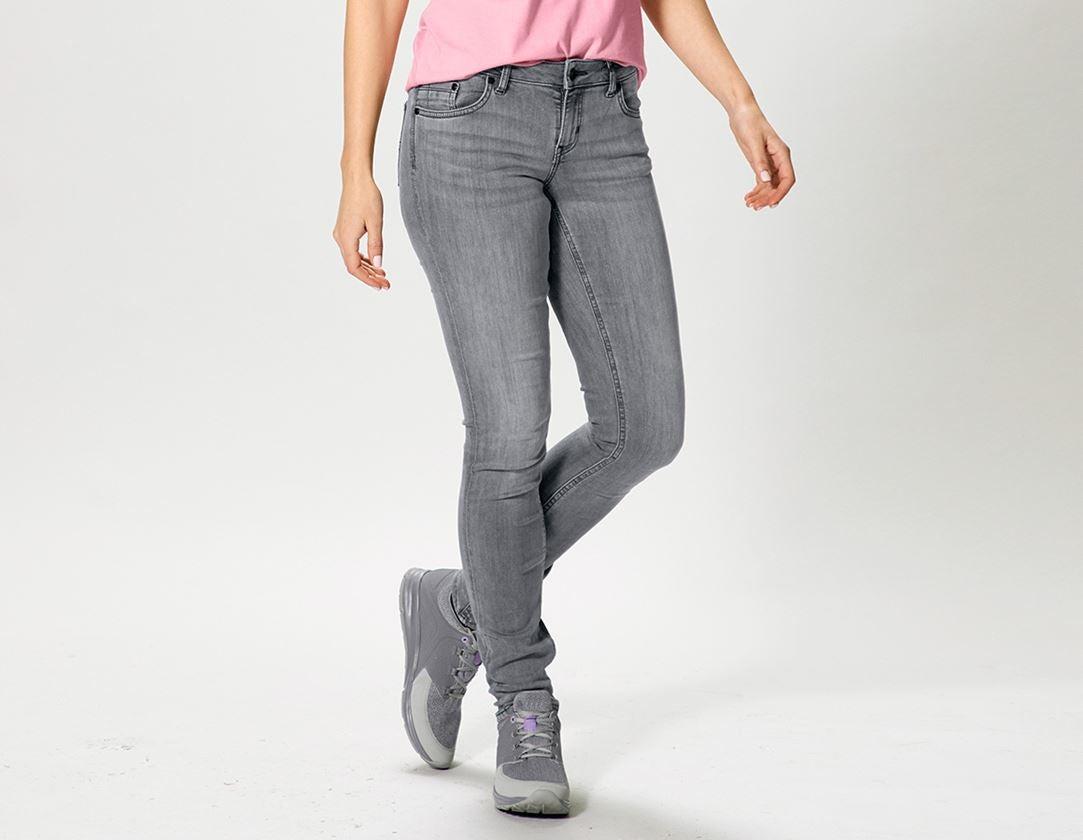 Arbetsbyxor: e.s. 5-fickors-stretch-jeans, dam + graphitewashed