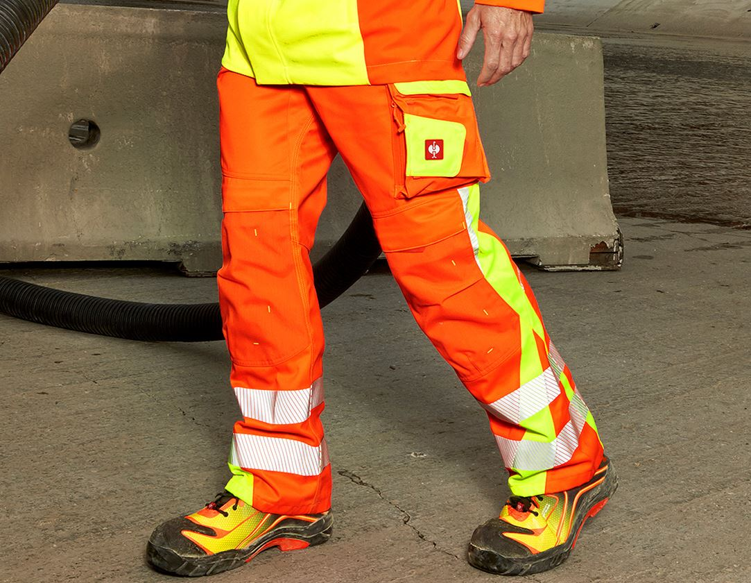 Work Trousers: High-vis trousers e.s.motion 2020 winter + high-vis orange/high-vis yellow