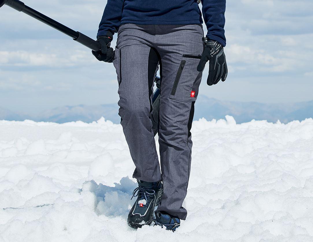Work Trousers: Winter ladies' trousers e.s.vision + pacific melange/black
