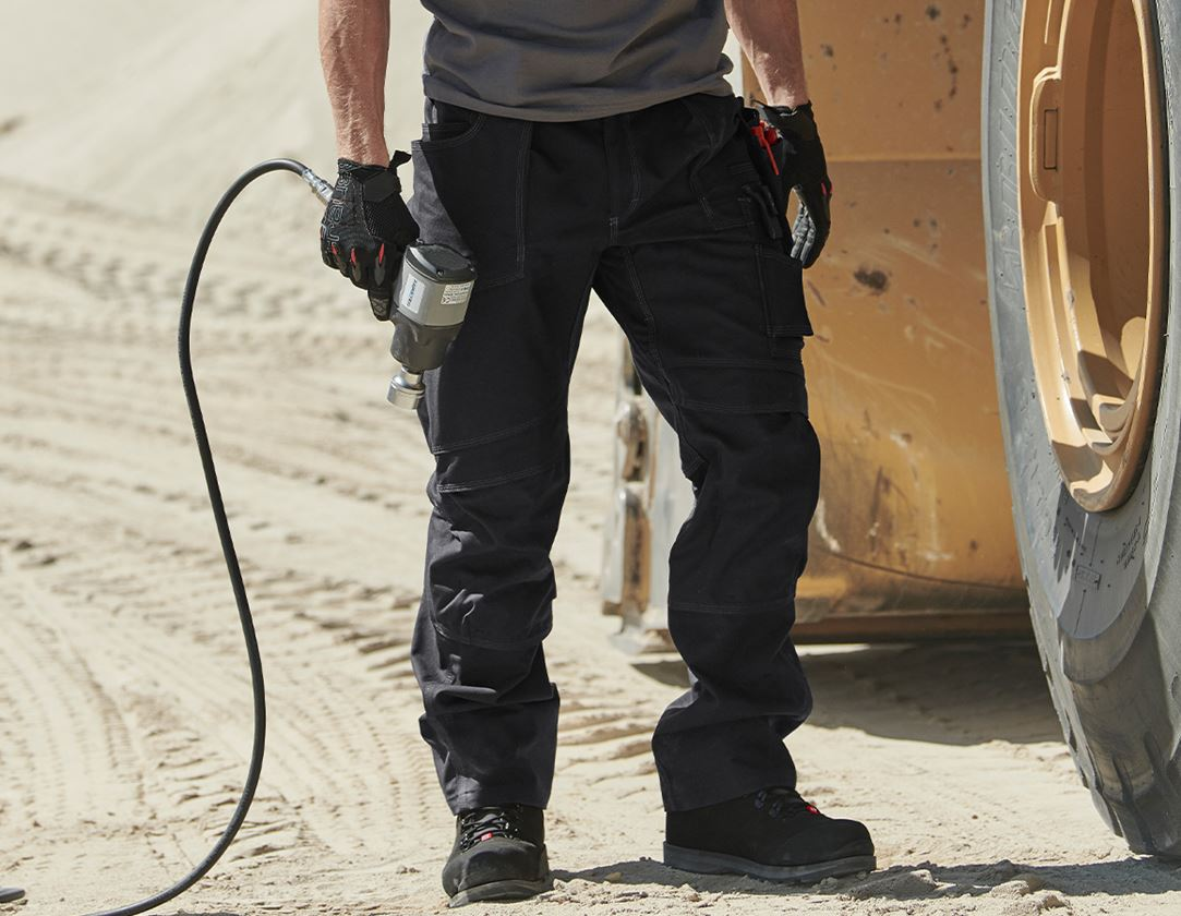 Work Trousers: Trousers e.s.roughtough tool-pouch + black