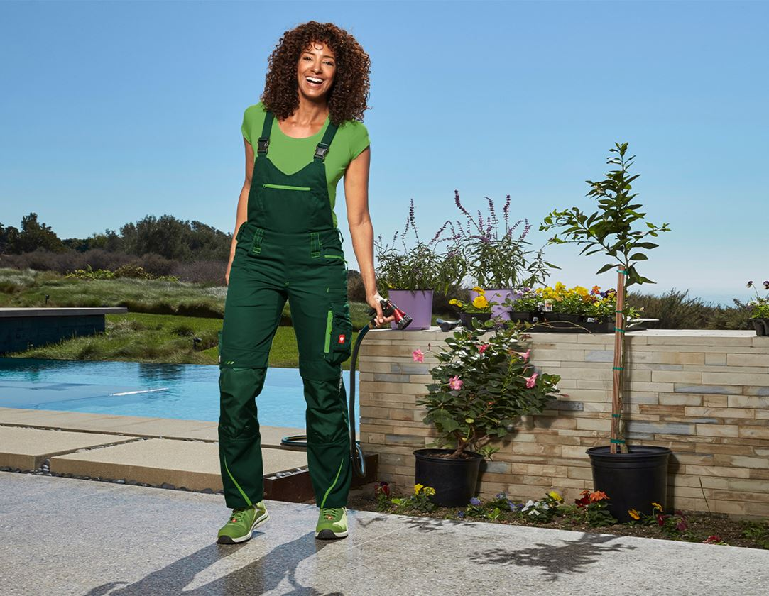 Work Trousers: Ladies' bib & brace e.s.motion 2020 + green/seagreen