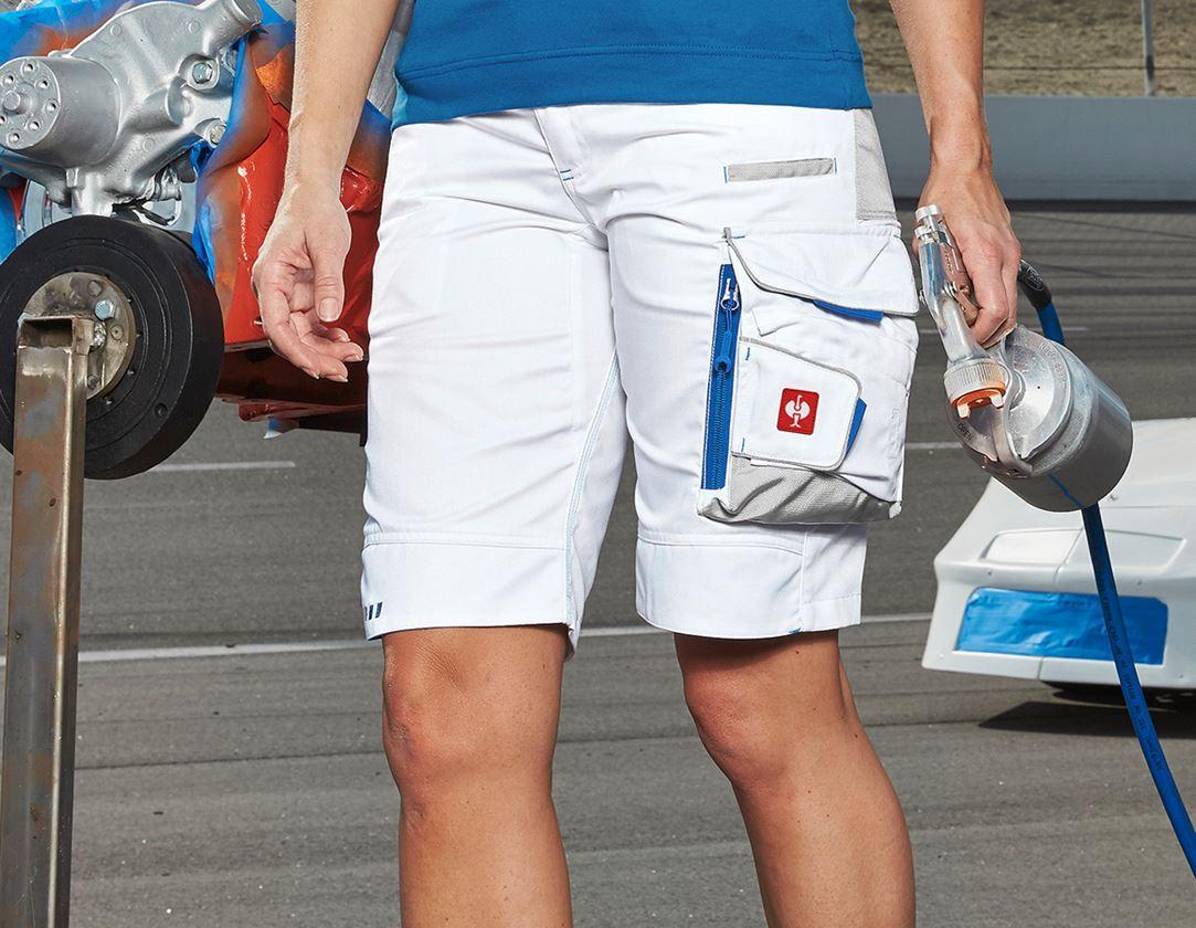 Arbetsbyxor: Shorts e.s.motion 2020, dam + vit/gentianablå