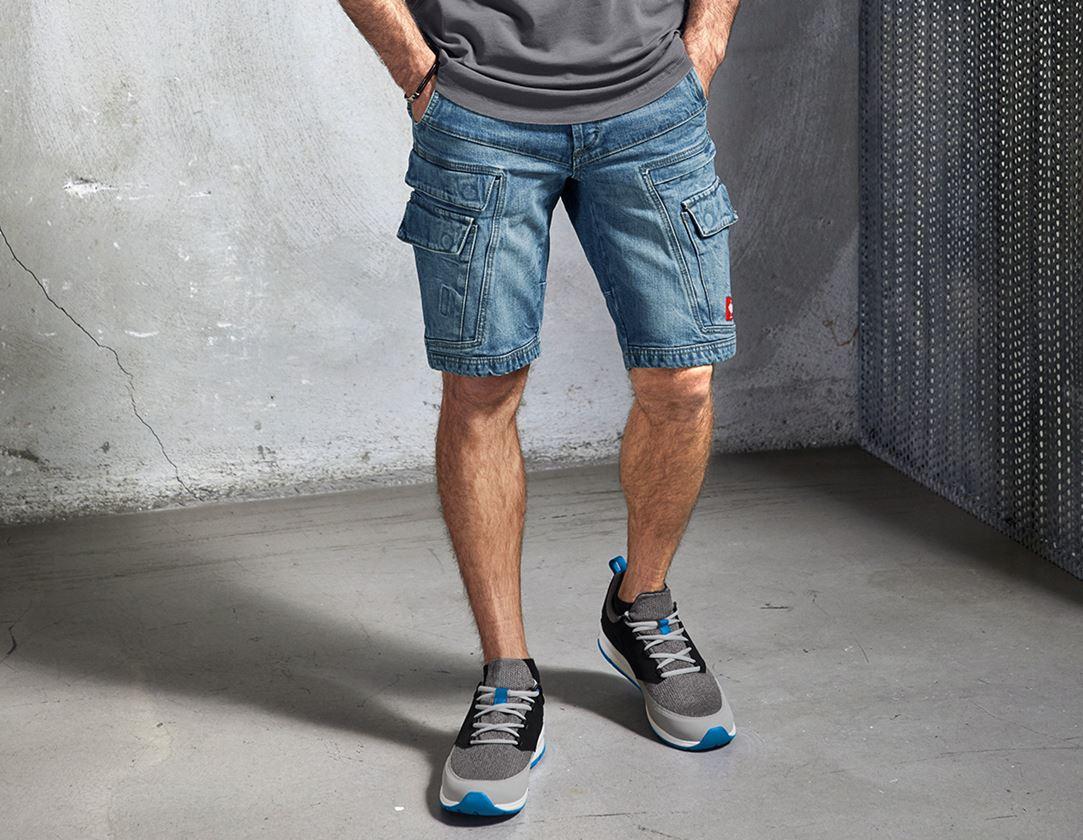 Arbetsbyxor: e.s. Cargo worker-jeans-shorts POWERdenim + stonewashed