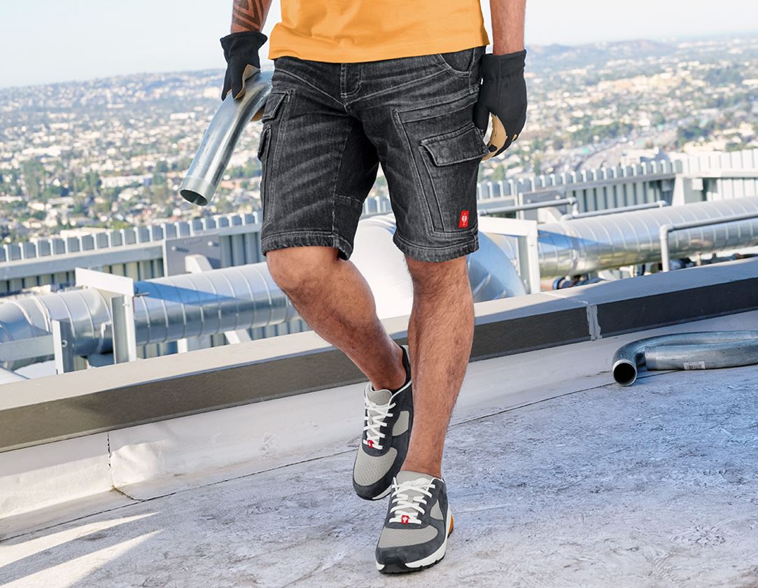Arbetsbyxor: e.s. Cargo worker-jeans-shorts POWERdenim + blackwashed