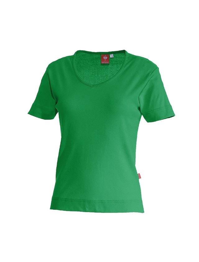 Shirts, Pullover & more: e.s. T-shirt cotton V-Neck, ladies' + grassgreen