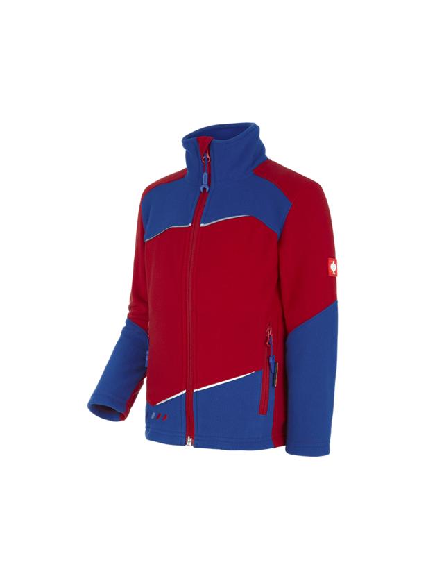 Jackor: Jacka av fleece e.s.motion 2020, barn + eldröd/kornblå