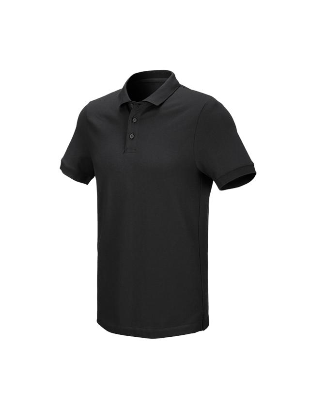 Överdelar: e.s. Pique-Polo cotton stretch + svart