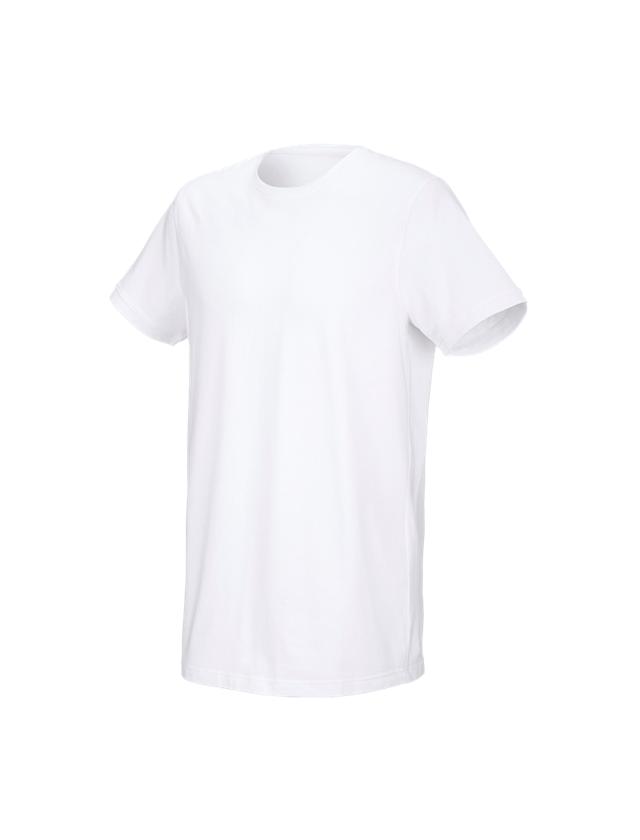 Överdelar: e.s. T-shirt cotton stretch, long fit + vit