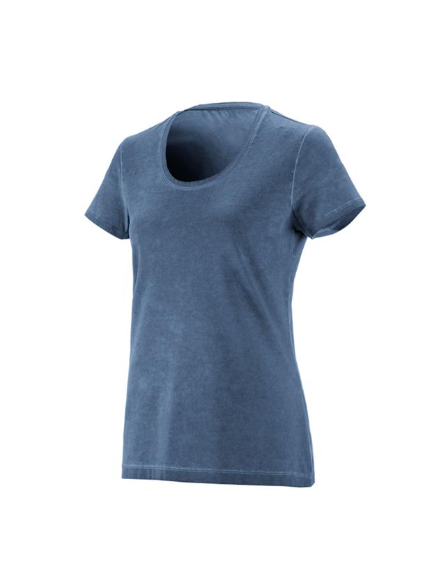 Överdelar: e.s. T-Shirt vintage cotton stretch, dam + antikblå vintage