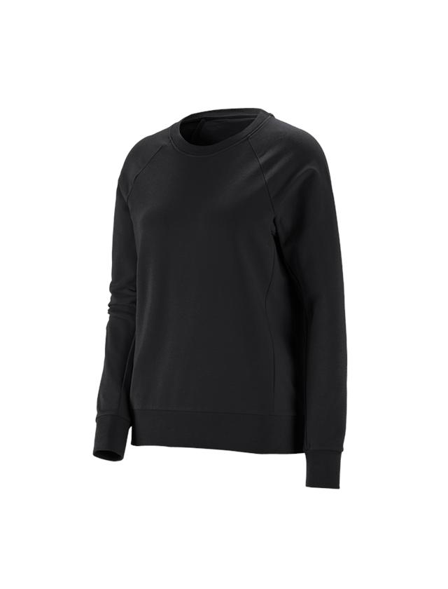 Överdelar: e.s. Sweatshirt cotton stretch, dam + svart