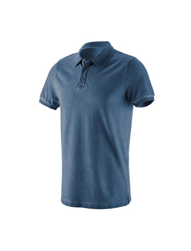Överdelar: e.s. Polo-Shirt vintage cotton stretch + antikblå vintage