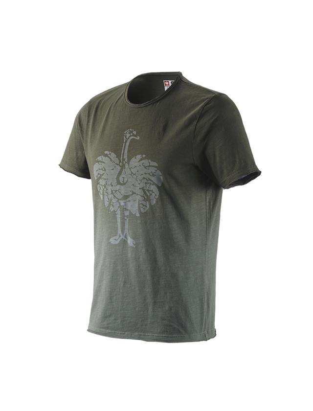 Överdelar: e.s. T-Shirt workwear ostrich + camouflage grön vintage