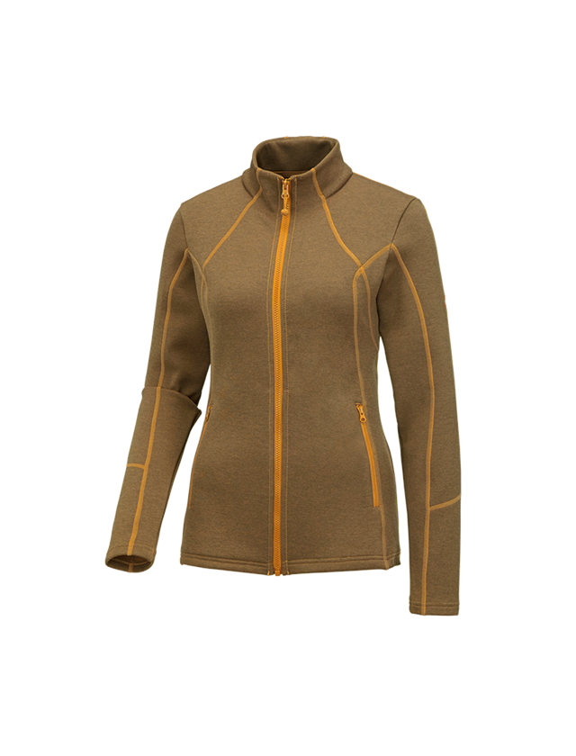Work Jackets: e.s. Functional sweat jacket melange, ladies + lightorange melange