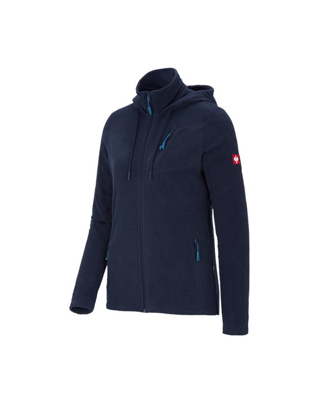 Work Jackets: Hooded fleece jacket e.s. motion 2020, ladies' + navy