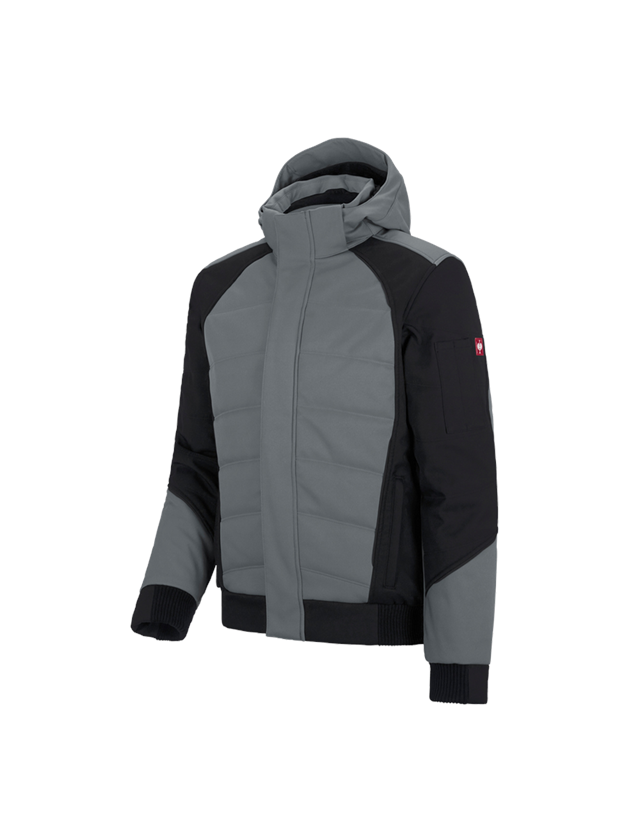 Work Jackets: Winter softshell jacket e.s.vision + cement/black