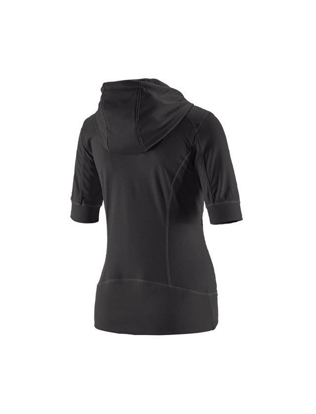 Work Jackets: e.s.Funct. hooded jacket stripe 3/4-sleeve,ladies + black 1