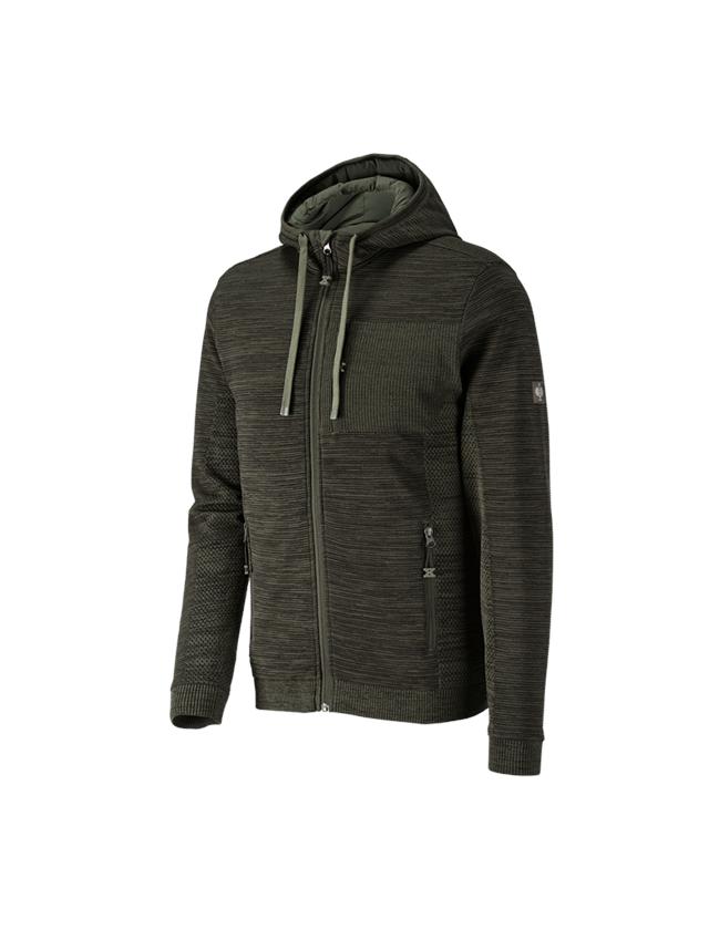 Work Jackets: Windbreaker hooded knitted jackete.s.motion ten + disguisegreen melange