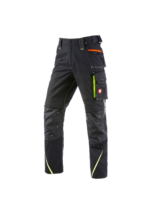 Work Trousers: Trousers e.s.motion 2020 + black/high-vis yellow/high-vis orange