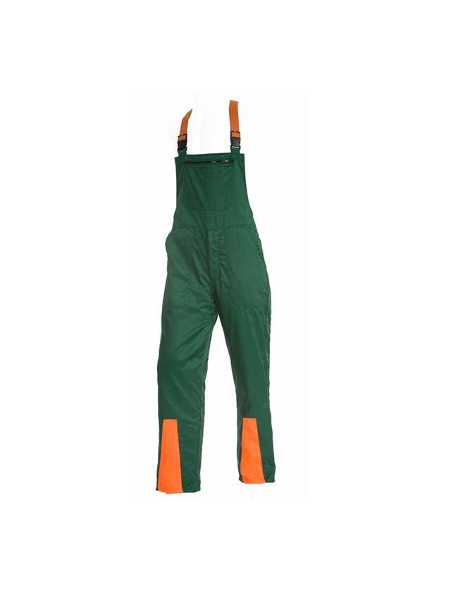 Arbetsbyxor: Hängselbyxa för skogsbruk med snittskydd Basic + grön/orange