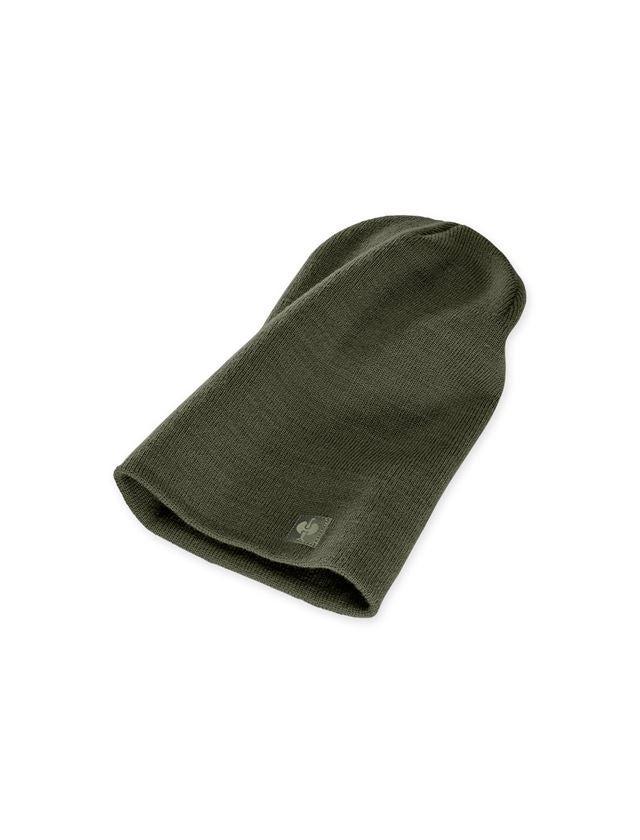 Accessoarer: Stickad mössa e.s.motion ten + kamouflage-grön