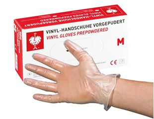 Disposable vinyl latex gloves, lightly powdered