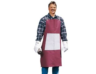Canvas apron with leather stomach reinforcement