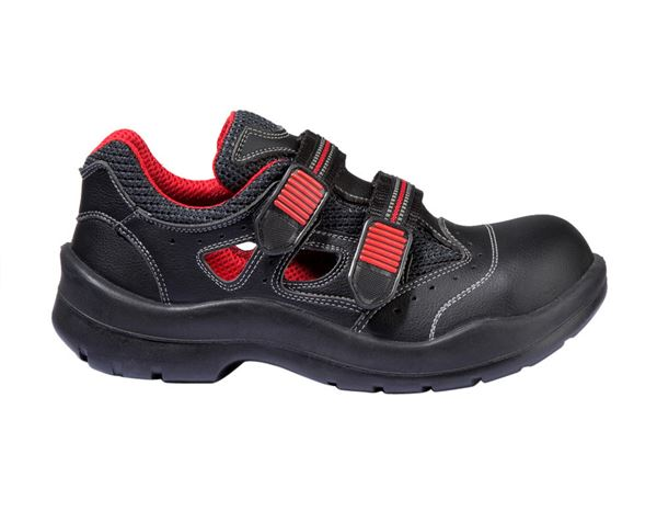 S1P	: S1P Safety sandal Comfort12 + black/red